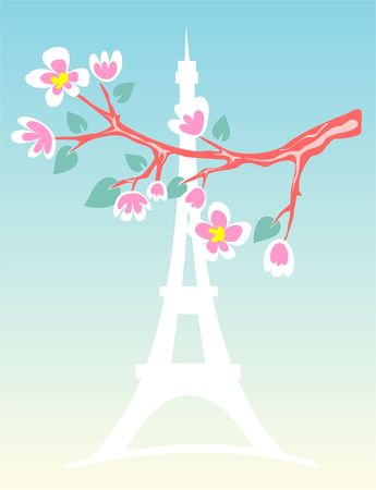 d'eiffel: Blossoming branch of an apple-tree on a background of a silhouette of Tour dEiffel.