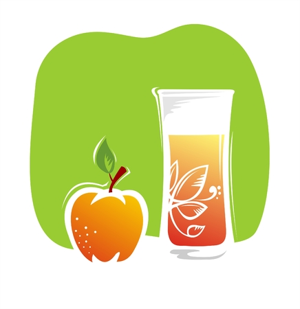 Juice and apple on a green background. Vector