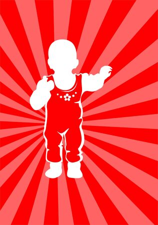 White silhouette of the baby on a red striped background. Vector