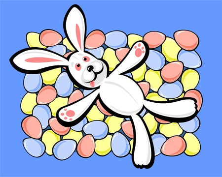 The rabbit laying on multi-colored easter eggs. Vector