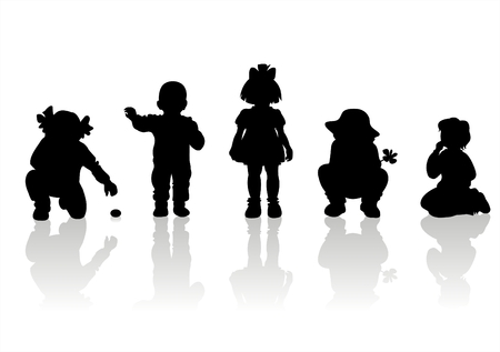 frisky: Black childrens silhouettes on white background.