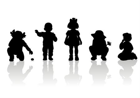 Schwarz Kinder-Silhouetten auf weißem Hintergrund. Vektorgrafik