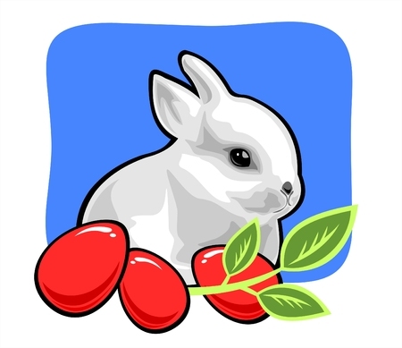 The white rabbit with easter eggs and a green branch on a blue background. Vector