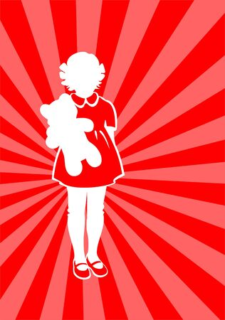 fondly: White silhouette of the girl with a bear on a red striped background. Illustration