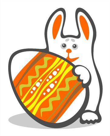 frisky: Happy bunny and easter egg  isolated on a white background. Easter illustration.