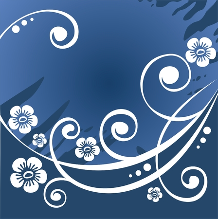 dark blue stylized  background with white flowers and curls. Vector