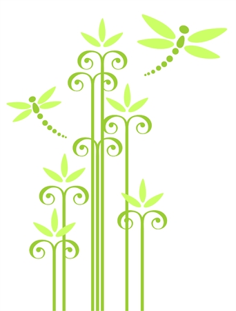 stylistic: Green ornate flowers and two dragonflies isolated on a white background. Illustration