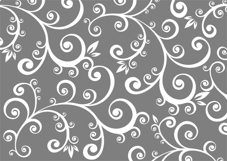 White stylized floral pattern on a gray background.