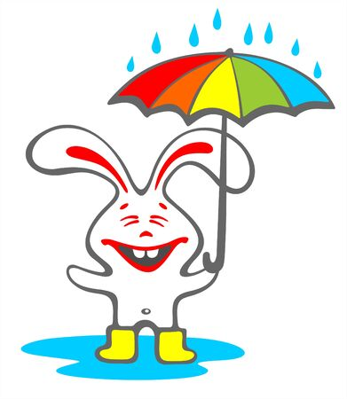 Happy rabbit with a umbrella isolated on a white background. Vector