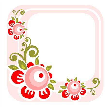 Pink stylized flower frame isolated on a white background.