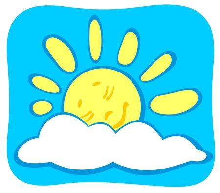 Cheerful sleeping cartoon sun on a blue sky background. Vector