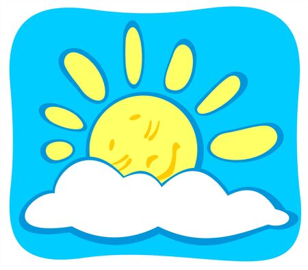Cheerful sleeping cartoon sun on a blue sky background. Vector