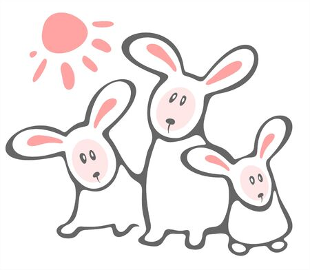 frisky: Three white  rabbits and sun isolated on a white background.