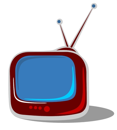Old vintage TV isolated on a white background. Illustration