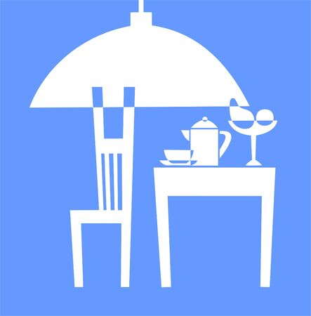 whiteblue: Interior of kitchen in white-blue color. Illustration