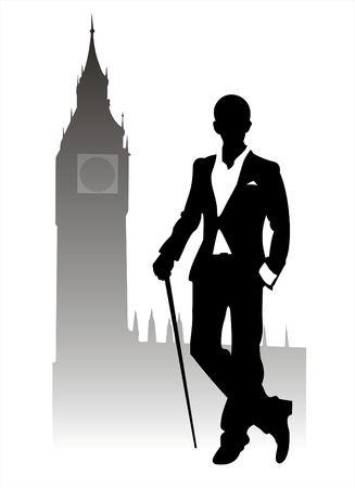 caballeros: Silueta de moda los hombres en el Big Ben de fondo.
