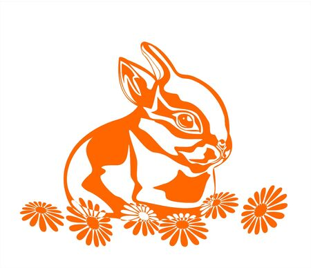 regenerating: Orange graphic silhouette of the rabbit and camomiles on a white background