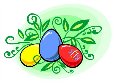 fondly: Multi-coloured easter eggs on a green background with leaves. Stock Photo
