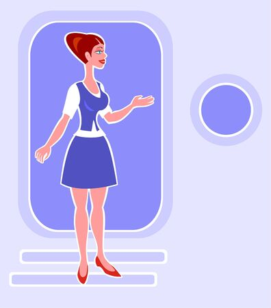 The girl in the dark blue form on a gangway of the plane.