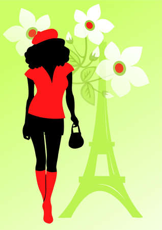 d'eiffel: Black silhouette of the girl on a green background with flowers and Tour dEiffel.