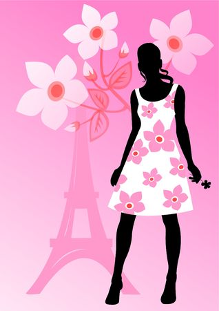 EASE: Black silhouette of the girl on a pink background with flowers and Tour dEiffel. Stock Photo