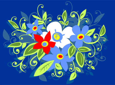 Decorative bouquet from white, blue and red flowers on a dark blue background. Stock Vector - 2756412