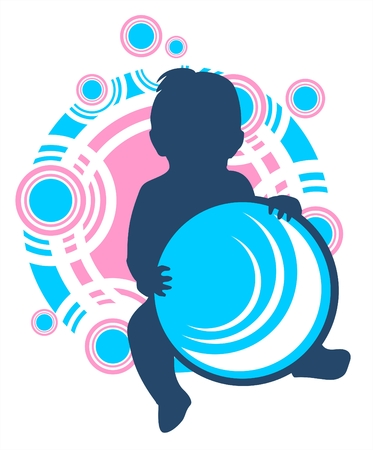 Dark childrens silhouette with ball on a white abstract background. Vector