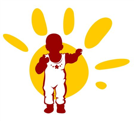 Dark childrens silhouette and sun isolated on a white background. Vector