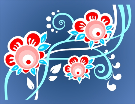 Dark blue floral background with white and blue curls. Vector