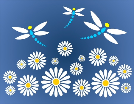 Ornate chamomiles and  dragonflies on a dark blue background. Vector