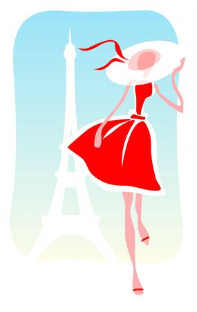 The stylized romantic girl in a red dress and a hat on a background of Tour dEiffel. Illustration