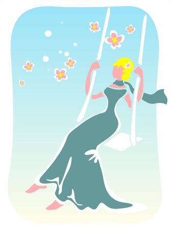 Stylized  girl in a blue dress and a scarf shakes on a swing. Vector