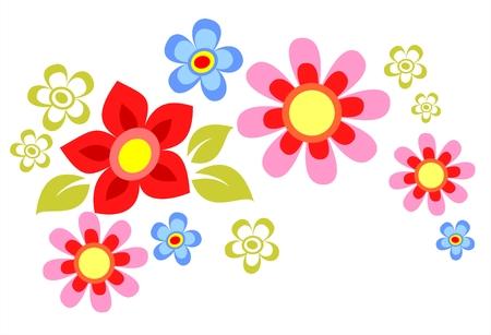 Orné de dessins animés fleur composition isolée sur un fond blanc.
