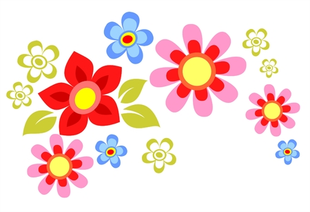 cartoon: Ornate cartoon flower composition isolated on a white background. Illustration