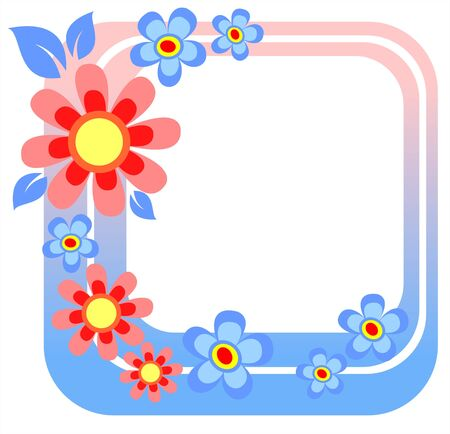 Stylized  frame with ornate blue and pink flowers. Illustration