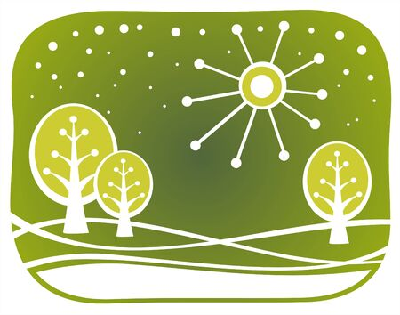Three spring trees and sun on an ornate green background. Vector