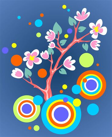 appletree: Blossoming branch of an apple-tree and abstract pattern on a dark blue background.