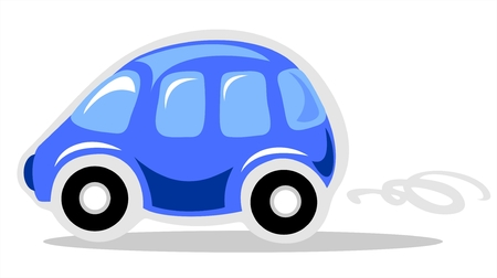 Funny cartoon car isolated on white background. Vector