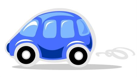 carro caricatura: Funny dibujos animados coche aislado en fondo blanco.