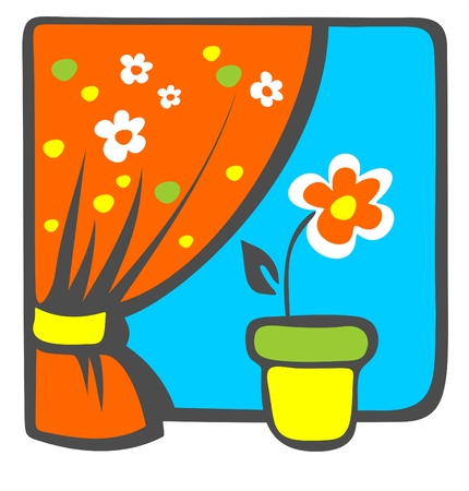 Red decorative flower on a windowsill with a bright curtain. Vector