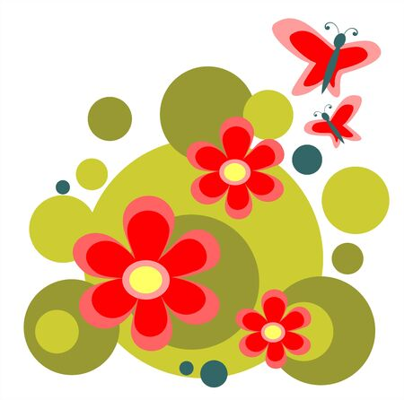 Ornate red flowers and two butterflies isolated on a white background. Illustration