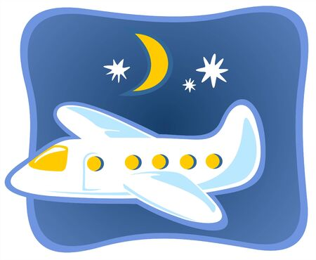 airplane cartoon: Funny cartoon plane flying in the night sky. Illustration