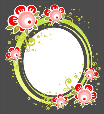 White frame with ornate red flowers on a dark background. Vector