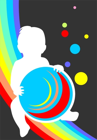 White childrens silhouette and rainbow on a dark  background. Vector