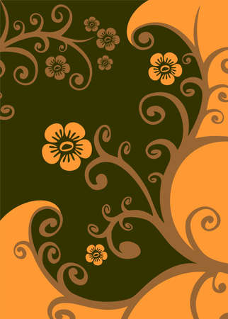 vegetative: Abstract gentle vegetative pattern on a brown background. Illustration