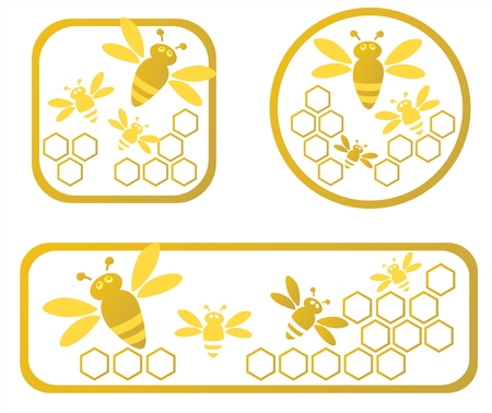 Three stylized honey frames with honeycomb and bees.