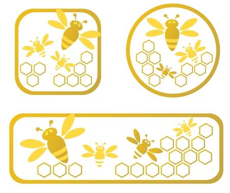 abejas panal: Tres estilizado con marcos de miel de panal y abejas.