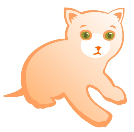 Cheerful ornate kitten isolated on a white background. Vector