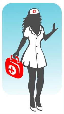 female form: Stylized nurse silhouette in the medical uniform with a small suitcase in a hand. Illustration