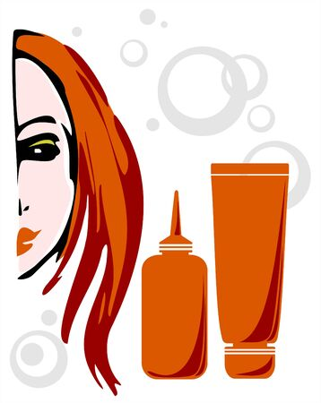red haired: The portrait of the red-haired woman and tubes with a paint for hair on a white background.